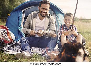 vader, en, zijn, zoon, uitgeven, tijd, samen, op, kamperen