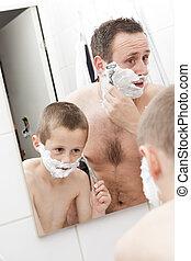 vader en zoon, het scheren