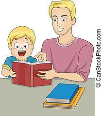 vader en zoon, lezende , boekjes
