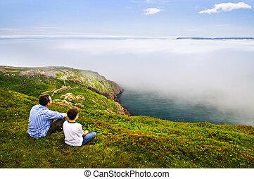 vader en zoon, op, oceaan, kust