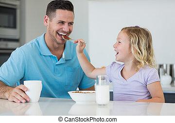 vader, het voeden, granen, dochter, tafel