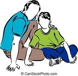 vader, illustratie, zoon