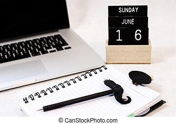 vader, kantoor, vaders, -, samenstelling, day., desk., dag, vrolijke
