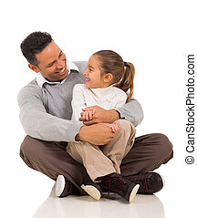 vader, schoot, dochter, zittende