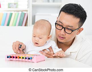 vader, speelmuziek, instrument, met, baby.