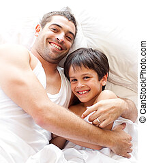 vader, zoon, het glimlachen, fototoestel