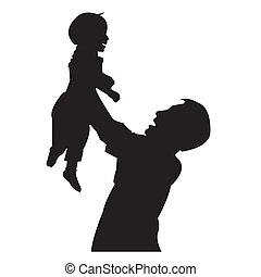 vader, zoon, vrijstaand