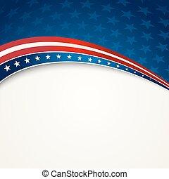 vaderlandslievend, amerikaan, vector, vlag, achtergrond
