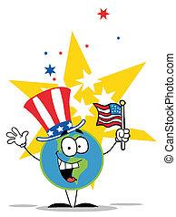 vaderlandslievend, globe, hoedje, amerikaan