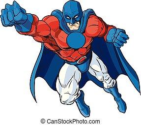 vaderlandslievend, mannelijke , superhero, spotprent, vector