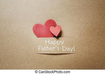 vaders dag, boodschap, met, rood, hartjes