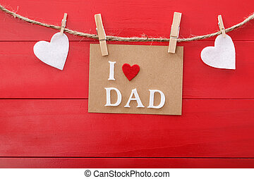 vaders dag, boodschap, op, rood, wooden board