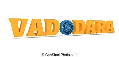 vadodara, o, nom, lettre, appelé, couleurs, ville, drapeau
