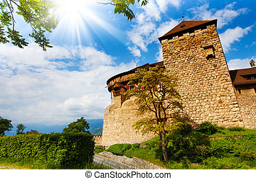 Vaduz castle walls and towers in Liechtenstein kingdom, tiny...
