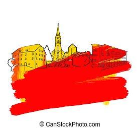 Vaduz Colorful Landmark Banner