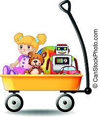 vagão, amarela, brinquedos