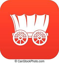 vagão, antiga, ocidental, digital, coberto, vermelho, ícone