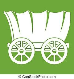 vagão, antiga, verde, ocidental, coberto, ícone