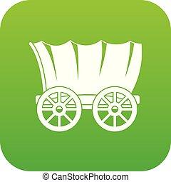 vagão, antiga, verde, ocidental, digital, coberto, ícone