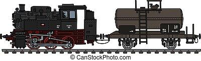 vagão, antigas, tanque, locomotiva, vapor