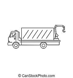 vagão, arte, -, ilustração, vetorial, ícone, caminhão, linha, guindaste, transporte