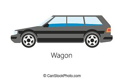 vagão, carro bens, isolado, experiência., estação, automático, branca