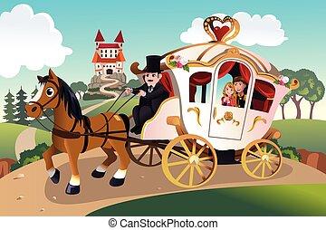 vagão, cavalo, princesa, príncipe