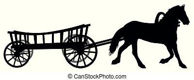 vagão, cavalo, silueta, steed., vetorial, cart.