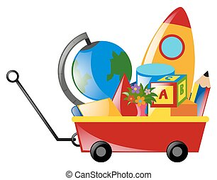vagão, cheio, vermelho, brinquedos
