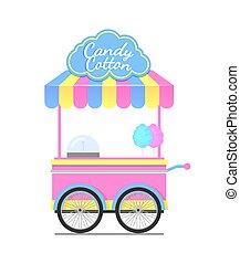 vagão, coloridos, ilustração, vetorial, doce, algodão