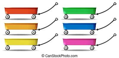 vagão, cores, seis