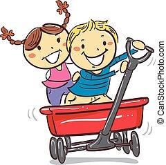 vagão, crianças, vermelho, montando