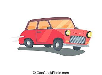 vagão, dois-porta, vetorial, retro, estação, vermelho, ícone
