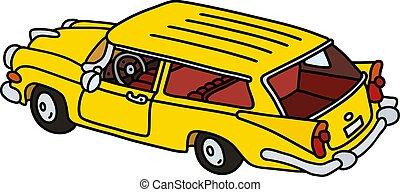 vagão, estação, antigas, amarela