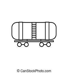 vagão, estilo, óleo, esboço, ícone, estrada ferro