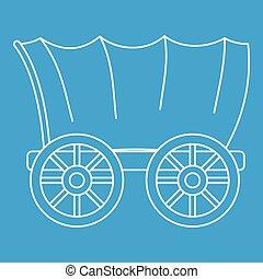 vagão, estilo, antiga, esboço, ocidental, ícone, coberto