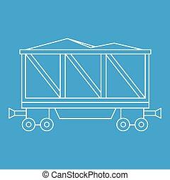 vagão, estilo, esboço, ícone, carregado, estrada ferro