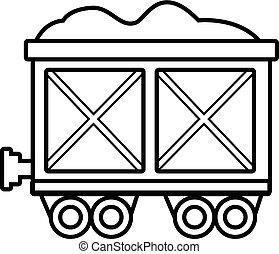 vagão, estilo, esboço, estrada ferro, ícone