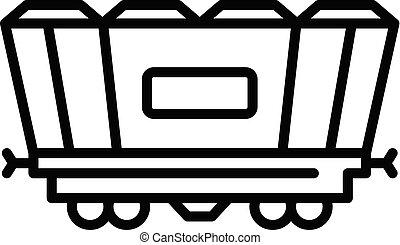 vagão, estilo, esboço, frete, ícone, estrada ferro