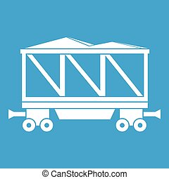 vagão, estrada ferro, branca, ícone