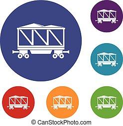 vagão, estrada ferro, jogo, ícones