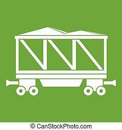 vagão, estrada ferro, verde, ícone