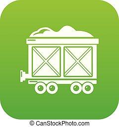 vagão, estrada ferro, vetorial, verde, ícone