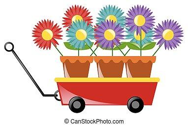 vagão, flores, coloridos, vermelho