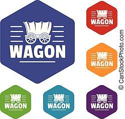vagão, hexahedron, vetorial, ícones