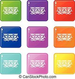 vagão, jogo, ícones, cor, cobrança, 9
