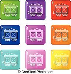 vagão, jogo, ícones, cor, cobrança, 9, estrada ferro