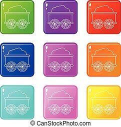vagão, jogo, ícones, cor, cobrança, trem, 9