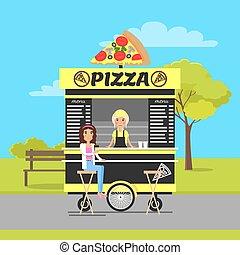 vagão, parque, ilustração, outono, vetorial, pizza