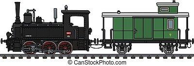 vagão, poste, vapor, locomotiva, vindima